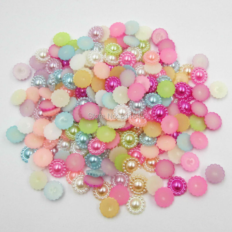 Ambitious 1000pcs/lot 10mm Mix Color Sunflower Shape Imitation Half Round Pearl Flatback Beads For Scrapbook Diy Decoration Skillful Manufacture Beads & Jewelry Making Beads