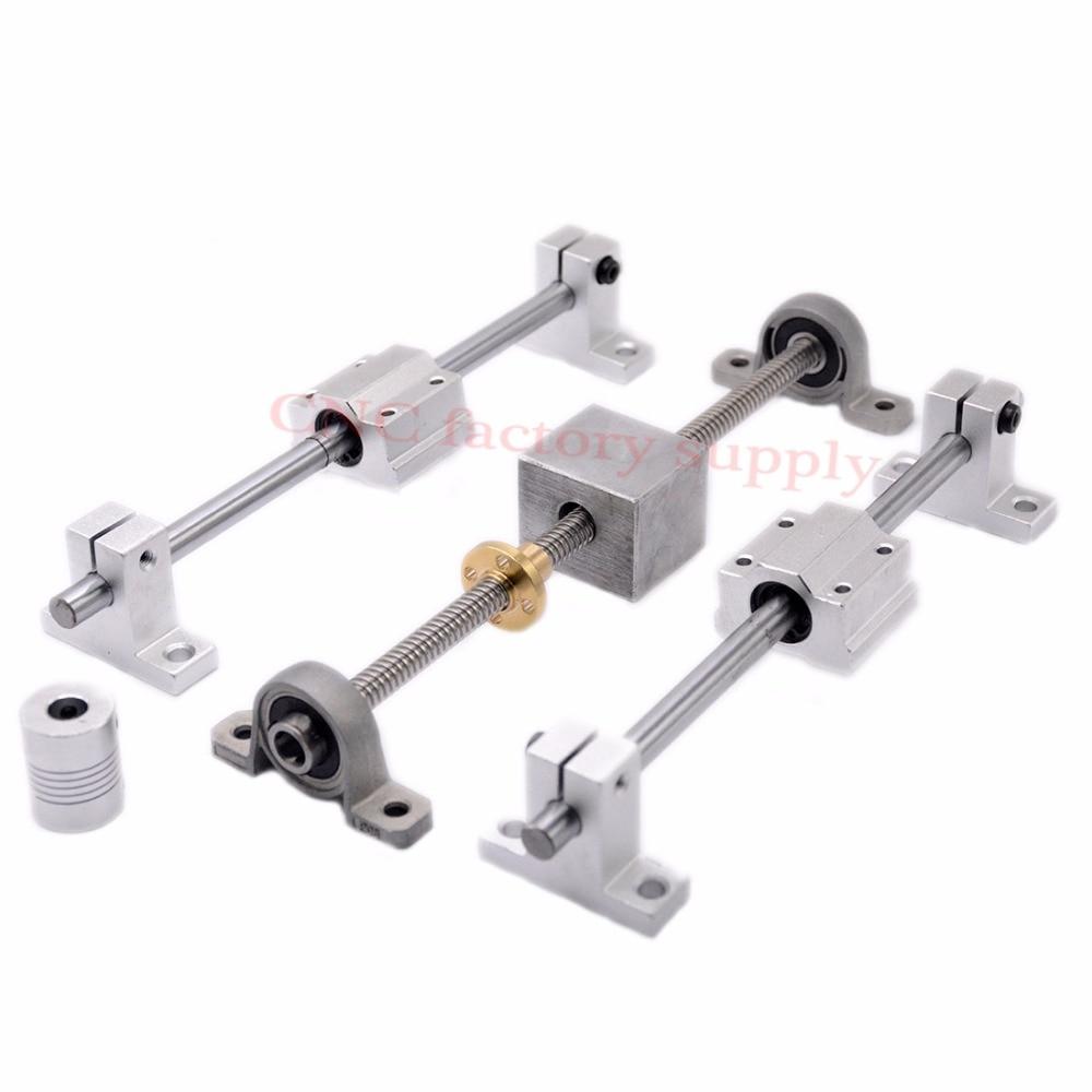 Vente CHAUDE 3D Imprimante guide rail ensembles T8 Plomb vis longueur 500mm + linéaire arbre 8*500mm + KP08 SK8 SC8U + écrou logement + couplage