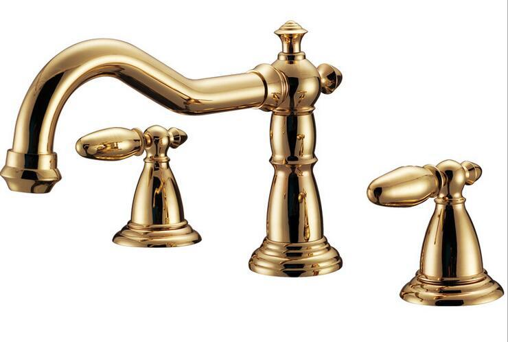 New 8 Roman Widespread Lavatory Bathroom Sink Faucet Oil: Luxury New Arrival High Quality Brass Gold Finished