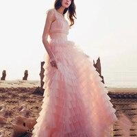 long maxi dress women sleeve ruffles pink party dress high quality designer runway luxury lace ball gown floor length dress F096