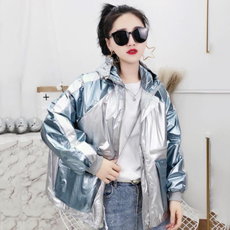 Fashion Story Women Metallic Hooded Zipper Drawstring Plus Size Jackets Coat