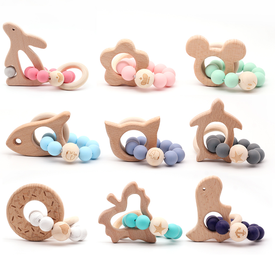 Cartoon Wooden Teether Natural Animal Shaped Silicone Beads Baby Teething Nursing Beech Teether DIY Bracelets  Baby Toys