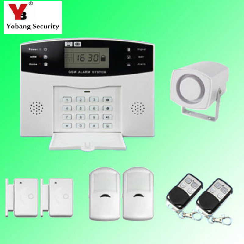YobangSecurity Russian French Spanish Italian Czech Voice House Alarm System Wireless GSM with PIR Detector Door Alarm Sensor
