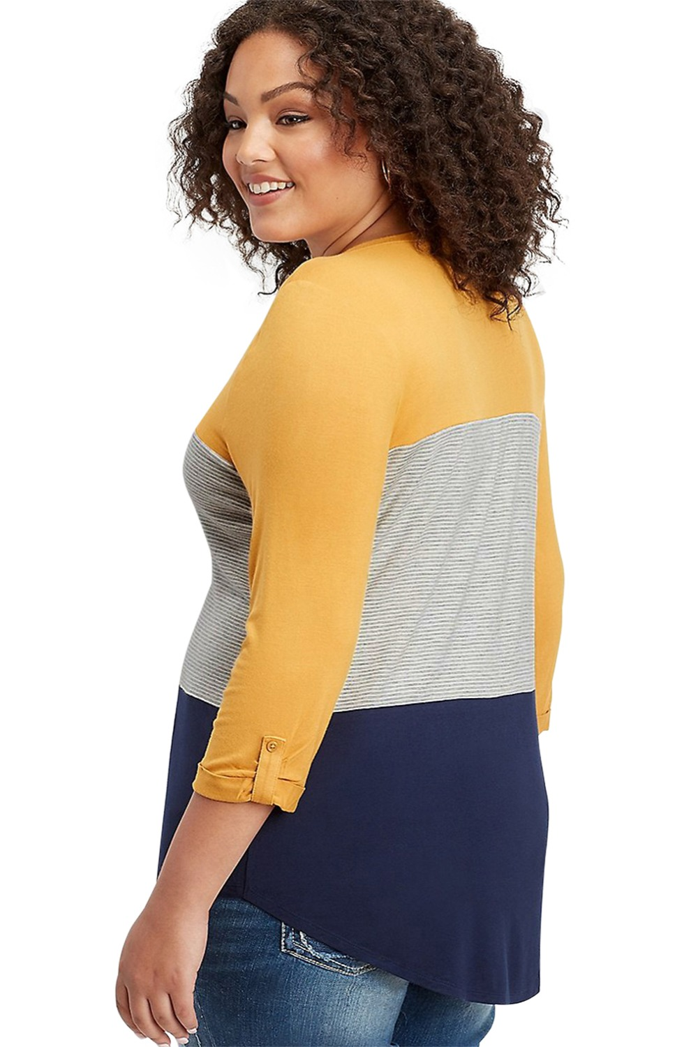 Yellow-Navy-Striped-Plus-Size-Top-LC251513-22-2