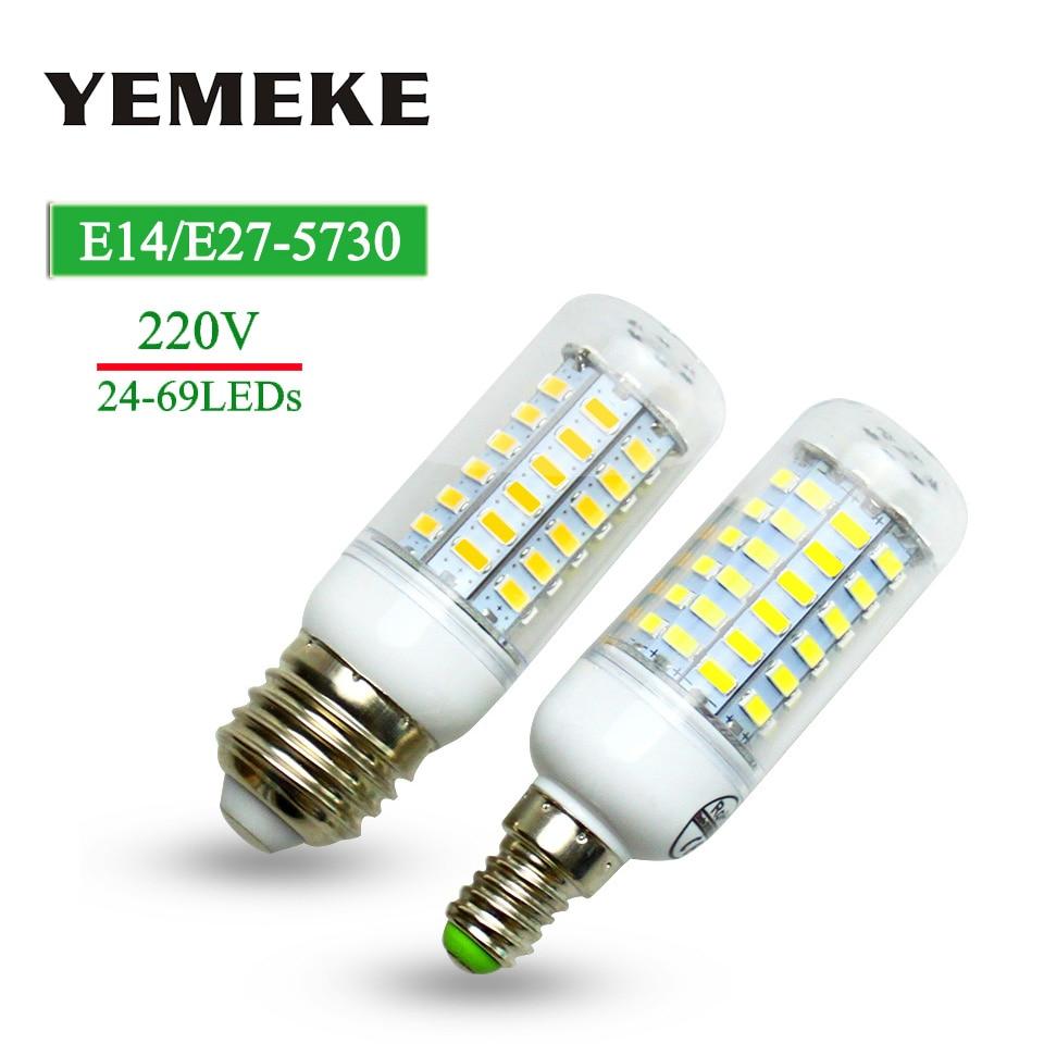 Super LED Bulb E27 E14 SMD 5730 LED Lamp 24 36 48 56 69leds 220V  lampada LED Corn Bulb light Chandelier led lights for home цены онлайн