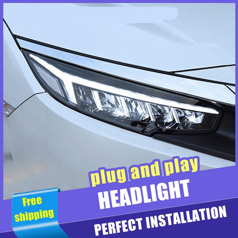 2PCS Car Style LED headlights 2016-2018 for Honda civic for Civic head lamp Lens Double Beam H7 HID Xenon bi xenon lens