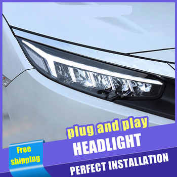 2PCS Car Style LED headlights 2016-2018 for Honda civic for Civic head lamp Lens Double Beam H7 HID Xenon bi xenon lens - DISCOUNT ITEM  21% OFF All Category
