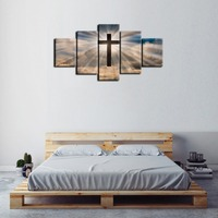 5 Panels Christian Jesus Cross Painting Print Poster Wall Art Sunshine Bible Book Background Paintings Home Decor Paintings