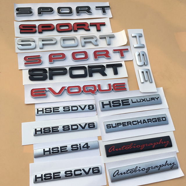 SPORT HSE Luxury CV6 SDV6 SDV8 Si4 SV Autobiography Emblem Badge Car Styling Refitting Trunk Sticker for Land Rover Range Rover