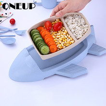 ONEUP Cartoon Lunch Box Children Lunchbox With Cutlery Aircraft Modeling Bento Box Leakproof Food Storage Container For Kids(China)