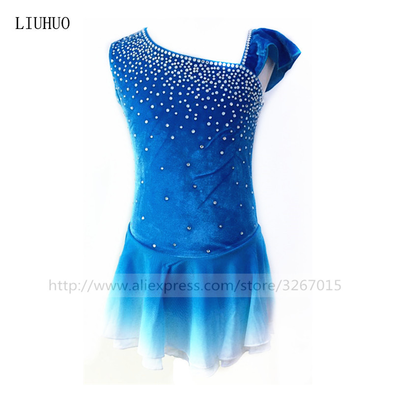 Figure Skating Dress Women's Girls' Ice Skating Dress Lake Blue Gradient Elastic Mesh Skirt Artificial Water Drill Decoration