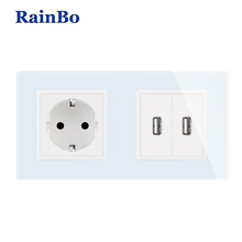 купить Wall Socket euro Standard Power Socket USB Outlet White Glass Panel AC Wall Power smart outlet Socket Free Shipping kisuns дешево