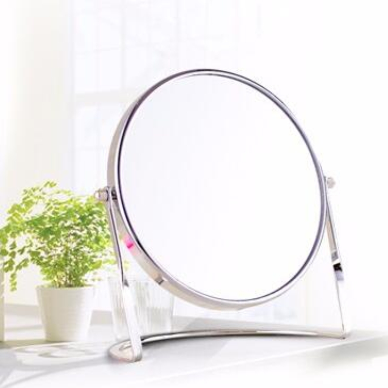 SpringQuan 7 inch fashion high-definition desktop makeup mirror 2-Face metal bathroom mirror 3X magnifying cosmetic