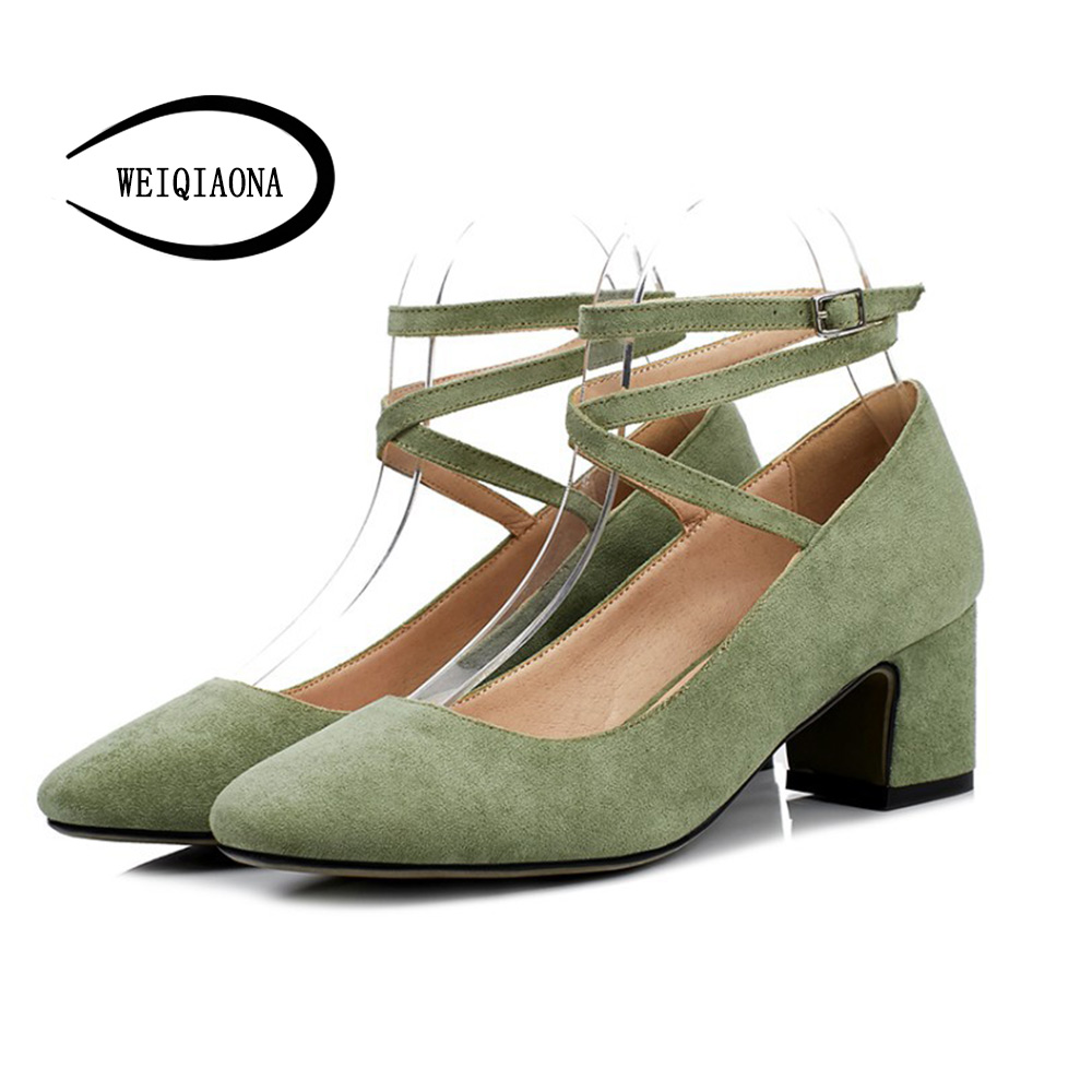 WEIQIAONA 2018 New Fashion Summer Womens Casual Pointed Buckle Pumps High Heels shoes Dress shoes Party shoes Wedding shose