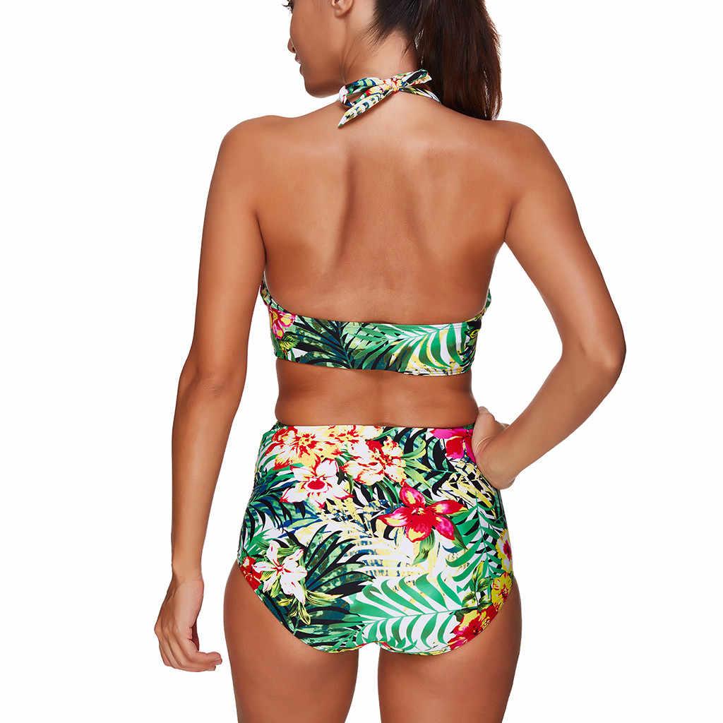 2019 Brasil Push Up Padded Bra High Waist Bikini Set Wanita Cetak Halter Baju Renang Plus Renang Pakaian Renang Biquini