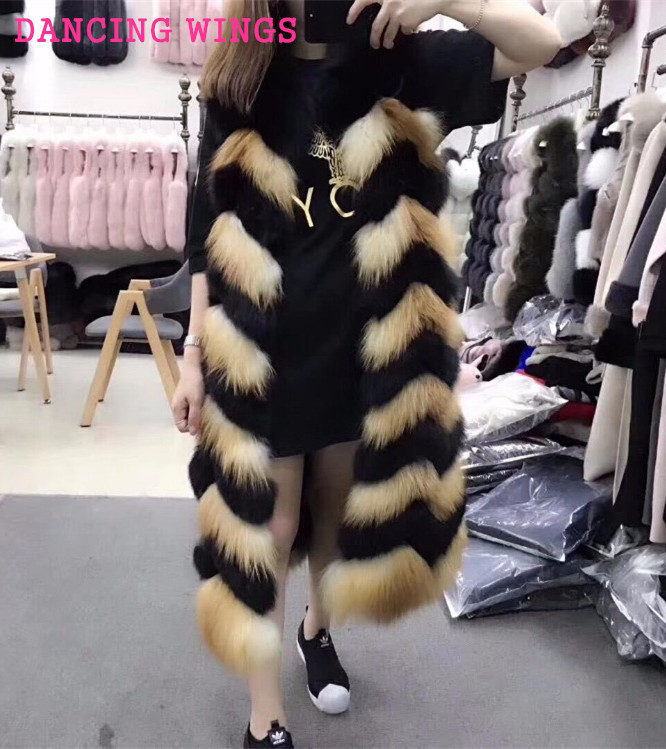 Length 110cm Winter Women Real Fox Fur Long Vest Black Red Fox Fur Thick Warm Sleeveless Natural Fur Vest Long Female Jacket