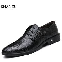 Luxury Men Crocodile Shoes Wedding Black Formal Lace Up Oxford Leather Print Party Business Male Dress Brown Shoes 694