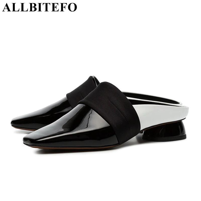 ALLBITEFO ขนาด: 33 43 ของแท้หนังสแควร์ toe รองเท้าส้นสูงรองเท้าผู้หญิงฤดูร้อนรองเท้าผู้หญิงรองเท้าแตะผู้หญิงรองเท้าสาวรองเท้าแตะ-ใน รองเท้าส้นสูงปานกลาง จาก รองเท้า บน   1