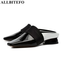 ALLBITEFO size:33-43 genuine leather square toe high heels women shoes summer women sandals party women shoes girls Slipper