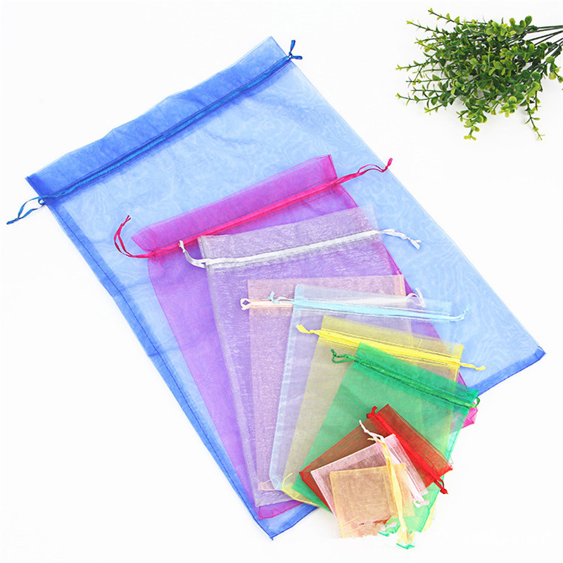 10pcs Large Organza Bags 9x12 10x15 13x18 15x20 20x30 Drawable Wedding Party Decoration Gift Bags Pouches Jewelry Packaging Bags
