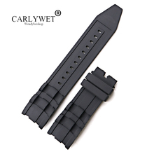 CARLYWET 26mm Wholesale Black Waterproof High Quality Silicone Rubber Replacement Watch Band Belt Strap carlywet 25 12mm black brown blue waterproof silicone rubber replacement wrist watch band strap belt for ulysse nardin