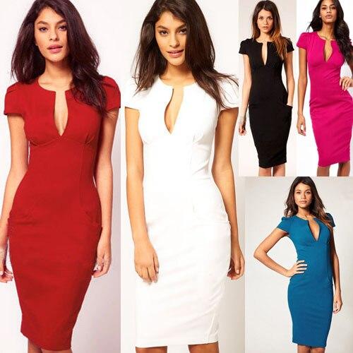 2015 fashion office dresses v neck short sleeve women work dress ...