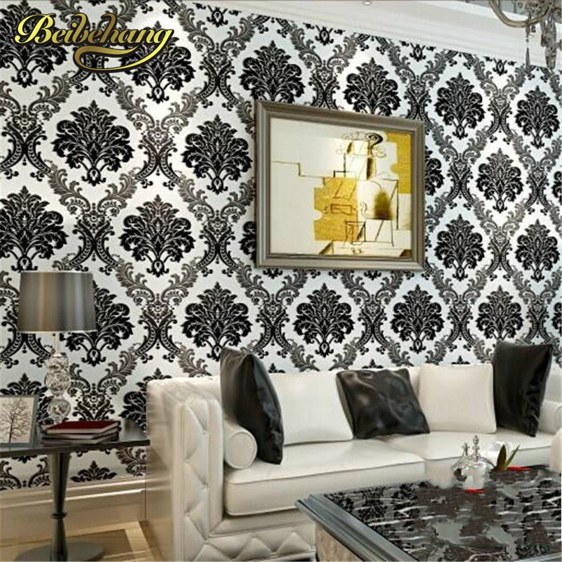 ФОТО beibehang Rolls Design Flocking Textured Luxury Wall paper for background Modern High Quality Vintage European Damask Wallpaper