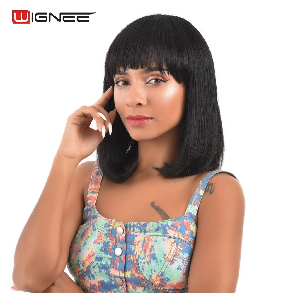 Wignee Short Human Hair Bob Wig With Free Bangs For Women 150% High Density Remy Brazilian Straight Hair Natural Black Bob Wig
