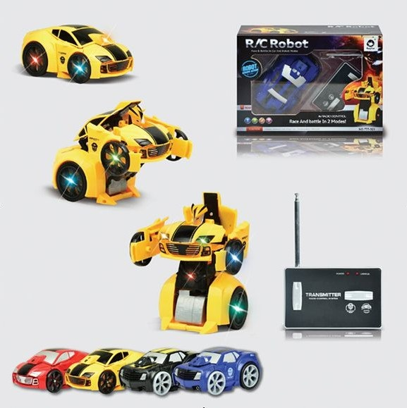 new mini robot to car two in one modes pocke transform car remote control car christmas kids 27mhz random colors