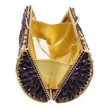 Women Socialite Purple Rhinestones Crystal Evening Clutches Bag Wedding Dress Bridal Diamond Chains Shoulder Handbags Purses