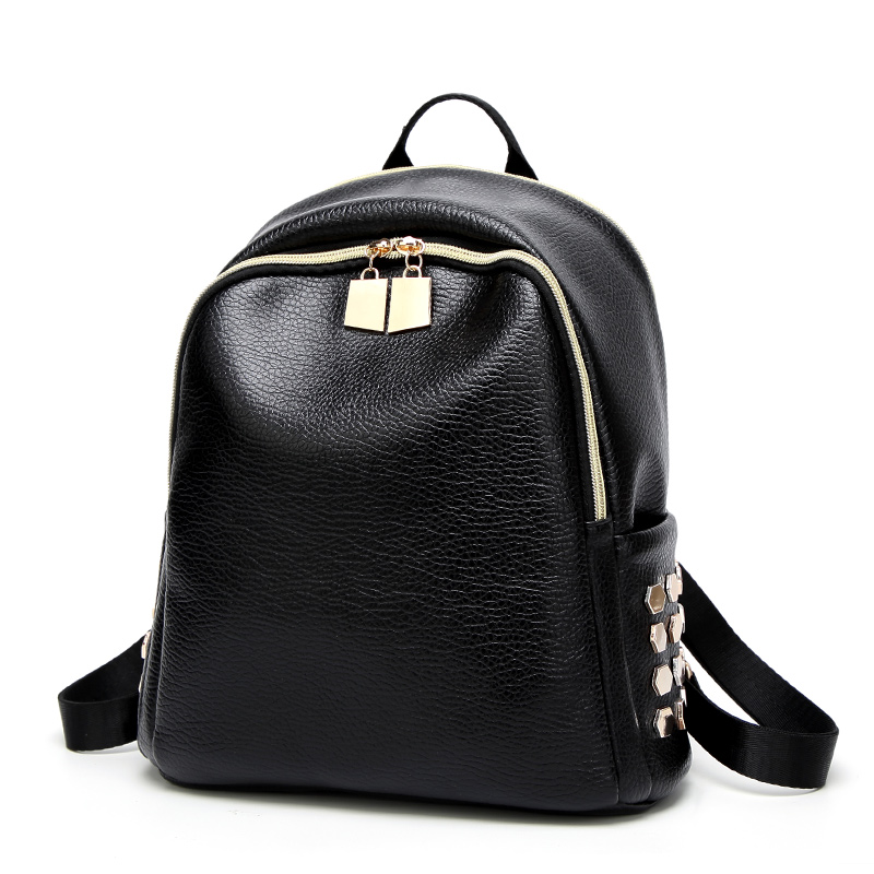 Fashion Women Backpack High Quality Backpacks Youth Leather Girls Female School Shoulder Bag Bagpack PU Black cool 2017 zipper 2016new rucksack luxury backpack youth school bags for girls genuine leather black shoulder backpacks women bag mochila feminina