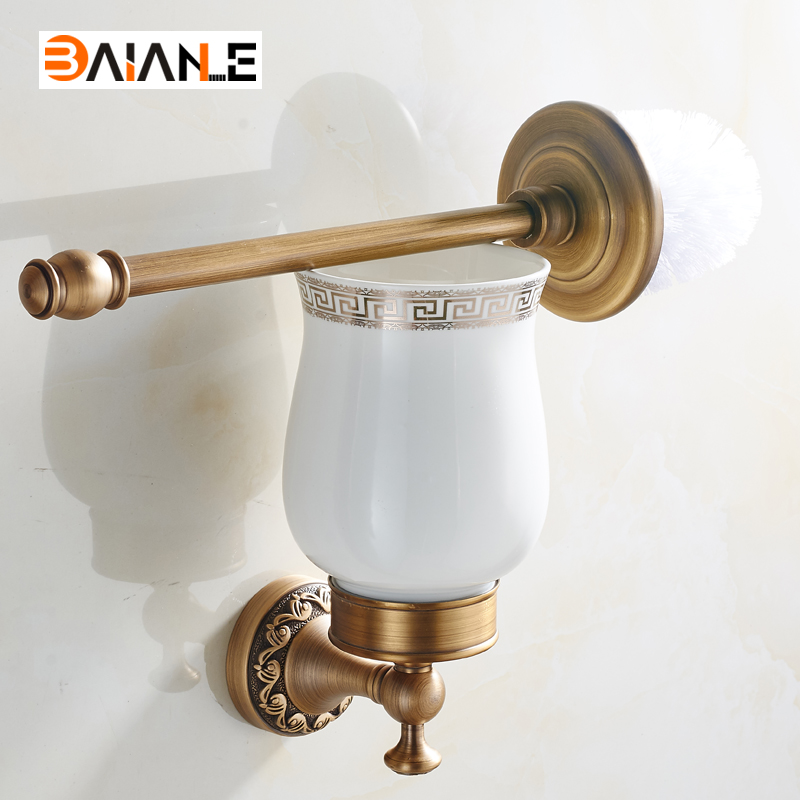 Luxury Antique brass Finish Toilet Brush Holder With Ceramic Cup/ Household Products Bath Decoration Bathroom Accessories european luxury bathroom accessories antique bronze toilet brush holder bath products high quality free shipping