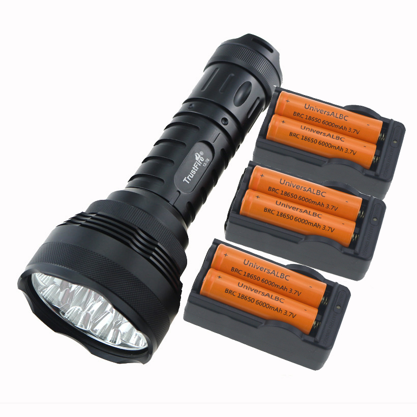 TrustFire 15000 Lumen 12T6 Tactical Hunting Flashlight 12x CREE XM-L T6 Camp LED Torch Lamp + 6x 18650 Battery + 3x EU Charger led tactical flashlight 501b cree xm l2 t6 torch hunting rifle light led night light lighting 18650 battery charger box