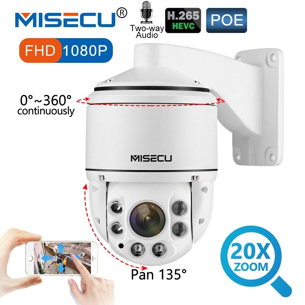 MISECU 1080 p PTZ IP di POE Della Macchina Fotografica Esterna SONY IMX323 Onvif 20X ZOOM Mini Telecamera Speed Dome 2MP H.265 Audio p2P Telecamera di Sicurezza