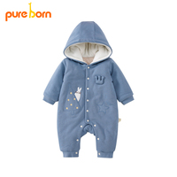 Pureborn Newborn Romper Thick Winter Baby Boy And Girl Hooded Overalls Cute Cartoon kids Clothes Christmas Gift 2019 Brand New