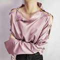 Sexy Women hollow out Soft satin blouse Loose pink Shirt Female Blusa Shirt Tops Long Sleeve ring Blusas streetwear chic blusas
