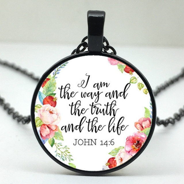 Bible I am the Way of Truth and Life Patterned Pendant Necklace