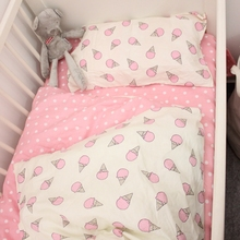 Crib bedding set 3pcs 1 set 100% cotton baby bedding set Penguin and Stripe design blue and pink for boys girls bed