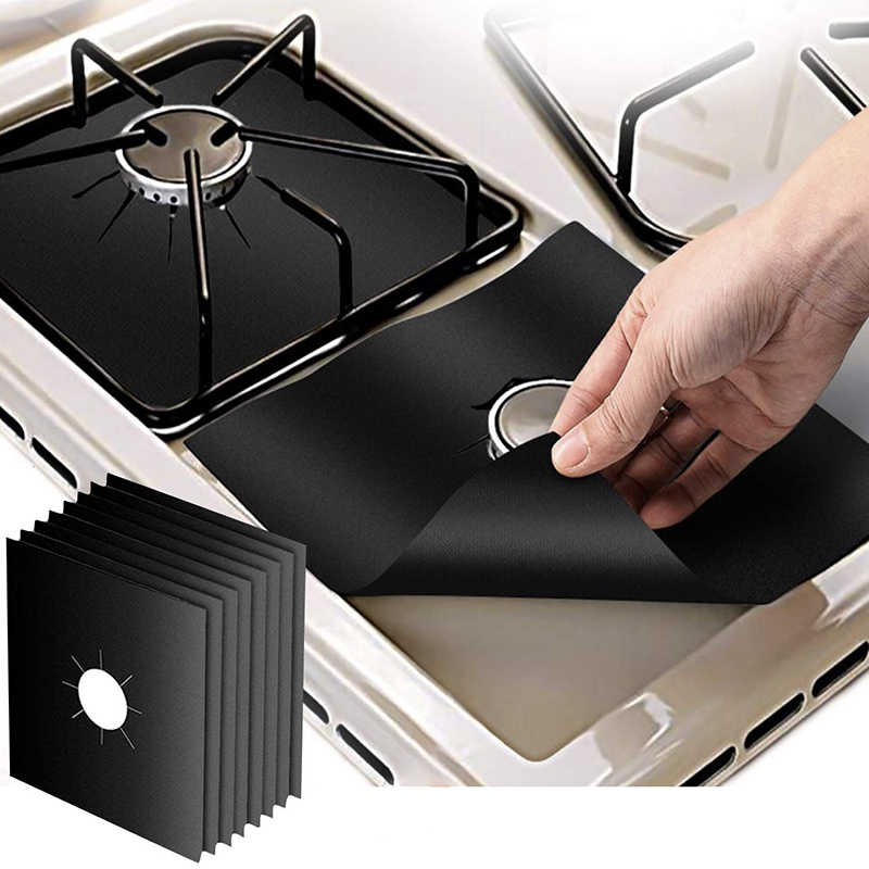 ONEUP 4Pcs/set Black&Sliver Reusable Foil Gas Hob Stovetop Protector Liner Cover For Cleaning Kitchen Tools Kitchen Accessories
