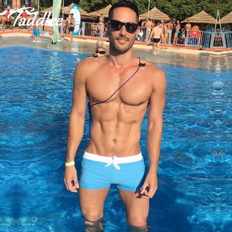 цена на Taddlee Brand Sexy Mens Swim Boxer Shorts Trunks Men Swimwear Swimsuits Brazilian Cut Swimming Surfing Board Wear Low Waist New