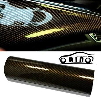 1.52*30m/Roll 2D Golden Glossy Carbon Fiber Vinyl Film Auto Wrapping Vinyl Wrap Foil Car Sticker Color Change
