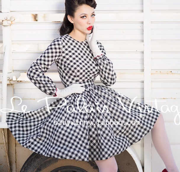 a4329557729 ... 40- le palais vintage 50s summer women gingham long sleeve circle swing  dress rockabilly pinup