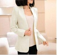 Women Single Button Blazer Short Design Cotton Long Sleeve Slim Blazer Color Block Patchwork Women Blazers
