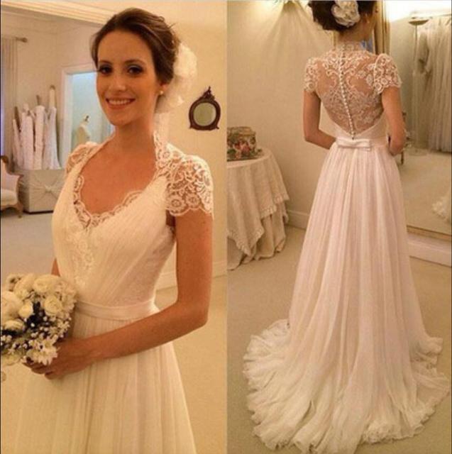 6eeac2cc2cc7 2019 New Informal Ivory Lace Chiffon Summer Beach Wedding Dresses Long Cap  Sleeves Simple Boho Bridal Gowns vestido de noiva