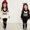 Nova Primavera Crianças Define Meninas Conjuntos de Roupas de Algodão Crianças Moda Dos Desenhos Animados Impresso Conjuntos de Luva Longa Das Meninas 2 Pcs Ternos Conjuntos