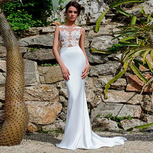 White Satin Bateau Neckline See-through Bodice Mermaid Wedding Dress With Lace Appliques Sexy Illusion Bridal Gowns