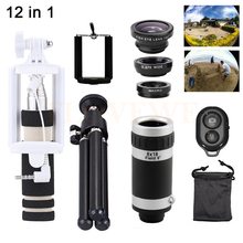 Cheaper 12in1 8X Zoom Telephoto Lens Microscope Macro Wide Angle Fish eye Lentes Telescope +Selfie Stick+TripodFor iPhone 7 6 5 4s