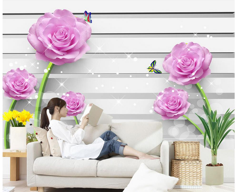 Home Decoration 3D stereoscopic rose pink backdrop wall ...