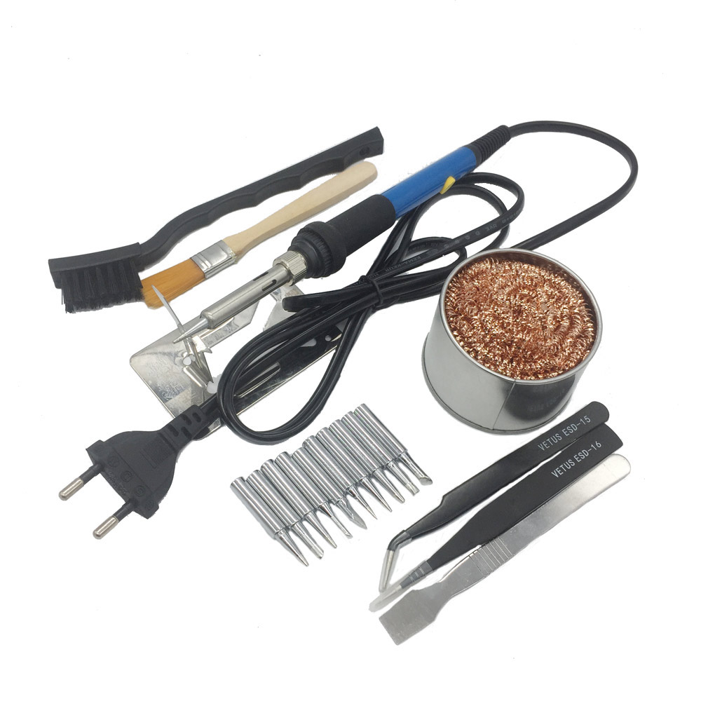 220V/110V 60W Adjustable Temperature Electric Soldering Irons Welding Solder Station Heat Pencil With 10pcs Tips EU Plug