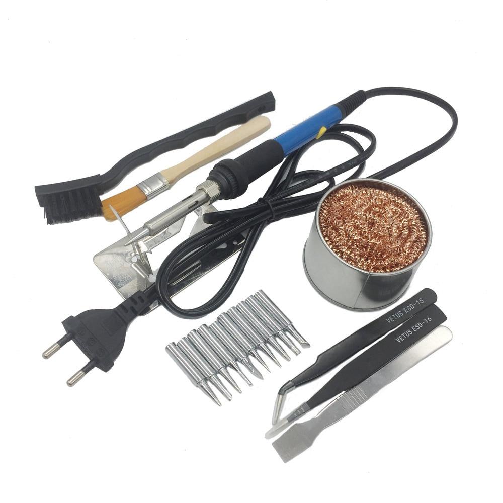 220V/110V 60W Adjustable Temperature Electric Soldering Irons Welding Solder Station Heat Pencil With 10pcs Tips EU Plug